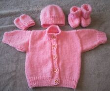 Hand knitted chunky pink cardigan/hat/mittens & booties in pink 3 mths baby girl