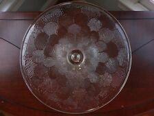 Glass Pedestal Cake Stand Dessert Pie Clear Round Plate Server Flower Vtg Mod