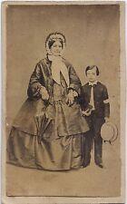 Mère et fils Mode Photographe Primitif Cdv Vintage ca 1860