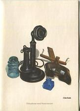 VINTAGE ANTIQUE BLACK TELEPHONE STEREOSCOPE BLUE GLASS BOTTLE NOTE CARD PRINT