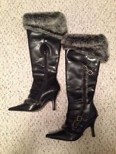LADIES BLACK KNEE HIGH BOOTS W/GRAY FUR & BUCKLE ACCENT SIZE 6