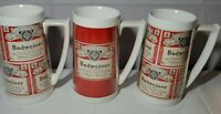 3 Vintage Budweiser Beer Mug Thermo-Serv Insulated Cup RED advertising PLASTIC
