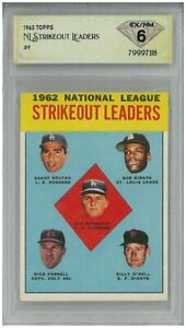1963 Topps NATIONAL STRIKEOUT LEADERS #9 Drysdale - Gibson 💎 DSG 6