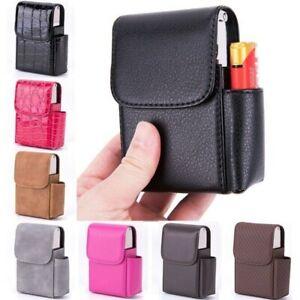 Cigarette Box Lighter Holder Tobacco PU Leather Nice Gift Smoker Tool Cigar Case