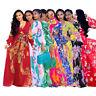 Boho Chiffon Long Women V Neck Long Sleeve Floral Print Swing Loose Maxi Dresses