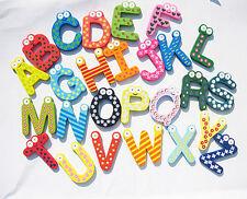 Baby Kids Wooden Toys Alphabet Fridge Magnet Set 26 Letters A-Z