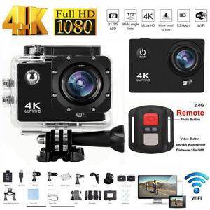 Action Camera 4K 1080P WiFi Camcorder Waterproof DV Sports Cam+Remote Underwater