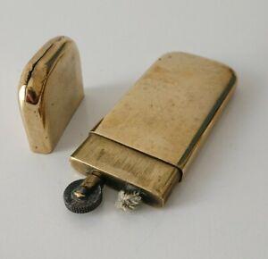 Vintage brass petrol lighter ancien briquet de poilu en bronze  à essence 14/18