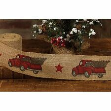 """RED PICKUP TRUCK Burlap Christmas Ribbon, 2"""" by 10 Feet, by Country House"""