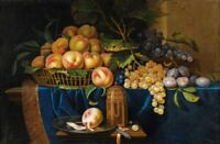 "oil painting ""Still Life With Peaches, Grapes, Plums and Silver-Gilt Shaker""6106"