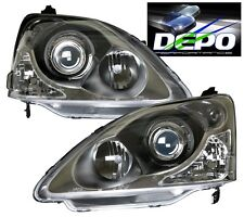 02 03 04 05 HONDA CIVIC SI 3D HB Projector BLACK Headlights DEPO PAIR