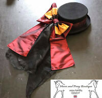 Concours d'elegance hat bow and drape, burgundy and gold