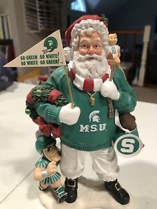 RARE VINTAGE Michigan State Football  DANBURY MINT SANTA Christmas  FIGURE