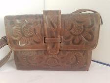 Vintage Tooled Brown Leather Purse Shoulder Bag Flower Design Made in Mexico