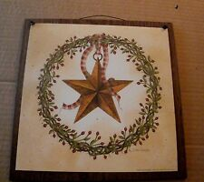 country twig berry wreath pip berries tin metal barn star wood home decor sign