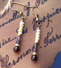 Vintage Seed Pearl / Amethyst & Garnet Drop Earrings