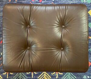 1970s Danish Modern Ekornes Stressless Ottoman Leather & Chrome Norwegian stool