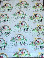 VTG 70s 80s Disney Curtain Sheet Fabric Mickey Pluto Donald Duck Rainbow AS IS 1