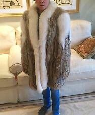 Coyote jacket coat with white fox trim. Perfect or any occasion and all seasons