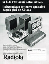 PUBLICITE ADVERTISING 094  1973  RADIOLA  HI-FI  table lecture ampli enceinte