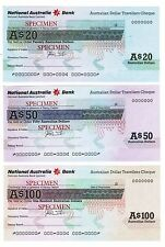 NATIONAL AUSTRALIA BANK TRAVELLERS $20$50$100 CHEQUES UNC SPECIMAN