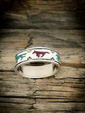 Wolves Ring Wolf Ring Turquoise and Sugilite ring 925 Sterling Silver
