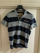 HOLLISTER TEE SHIRT / BUTTON NECK / CREW STYLE / GREY BLUE STRIPES / S