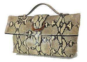 Genuine Beige Brown Python Snakeskin Leather Hand Bag Purse #24906A
