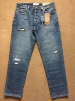 """NEXT Men's Slim Tapered Blue Ripped & Repaired Denim Jeans, 36S, W36"""" L29"""", £40"""