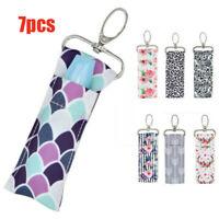 Storage Chapstick Lipstick Holder Pouch Bag Key Ring Printing Keychain Gift Lot