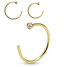 Pair of Gold IP on 316L Surgical Steel Clear CZ Gem Top Nose Hoop Rings