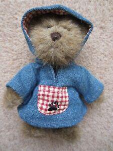 "Morgan B Berriweather Boyds FOB Collection Denim Gingham Jointed Teddy Bear 6"""