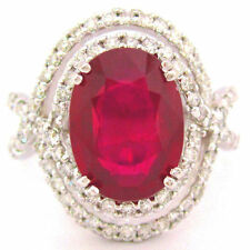 14K white gold 4.60CT OVAL RUBY AND ROUND CUT DIAMONDS HALO BRIDAL DESIGN RING