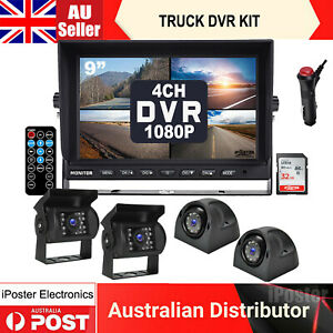 """iPoster 9"""" DVR Quad Monitor 32GB+HD 4x 4CH Realtime Rear Side Recording Camera"""