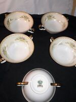 "MEITO CHINA JAPAN 5 PIECE MULTI FLORAL AND SCROLLING 5"" double handled SOUPS"