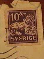 RARE LION 10ORE 10 ORE SVERIGE STAMP SCARCE POSTMARK SWEDEN