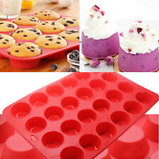 24 Cavity Mini Muffin Cupcake Cup Silicone Mould Soap Cookies Bakeware Pan Tray