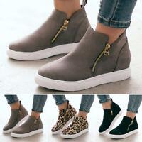 Womens Pumps Wedge Hidden Heel Loafers Sneakers Slip On Trainer Casual Shoes ZIP