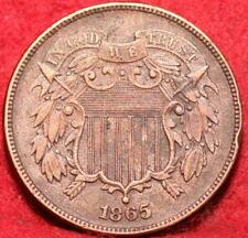 1865 Copper Philadelphia Mint Two Cent Coin
