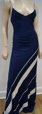 RALPH LAUREN COLLECTION Navy & Cream Silk Sleeveless Bodycon Long Maxi Dress S