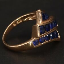 Cocktail Gold Ring Size 8 - 5g Sterling Silver - Ross Simons Sapphire Cluster