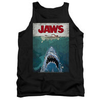 JAWS LINED POSTER Licensed Adult Men's Graphic Tank Top Sleeveless Tee SM-2XL