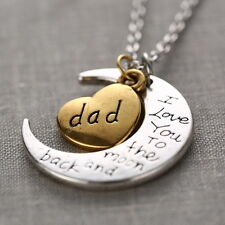 DAD I Love You To The Moon And Back Silver Gold Tone Necklace Holiday Gift box