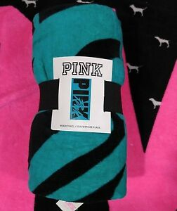 Victoria's Secret PINK Teal Blue & Black Script Beach Towel NEW NWT RARE