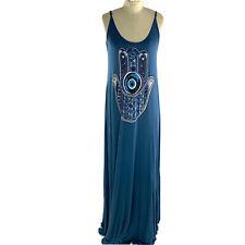 Lauren Moshi Blue Hasma Maxi Dress Size M Womens Soft Micro Modal Sleeveless
