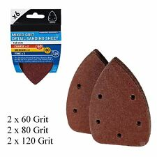 6 x Mixed Grit Hook and Loop 140mm Detail Sanding Sheets, Palm Sander Mouse Pads