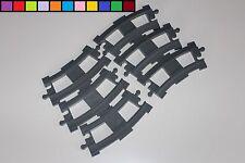 Lego Duplo - 6 Schienen - Kurven - hell-grau - Eisenbahn
