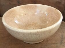 Vtg Stained Crazed White Ironstone Footed Bowl Great Patina