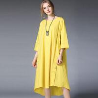 Women loose plus size dresses casual high waist Elegant dress largest size 12-28
