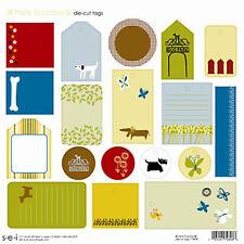 sei PARK BUDDIES 12x12 Die-Cut Tags Sheet scrapbooking DOGS BUTTERFLIES GRASS